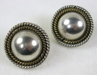 Signed Mexico Vintage Sterling Silver Two Tone Dome Pierced Earrings