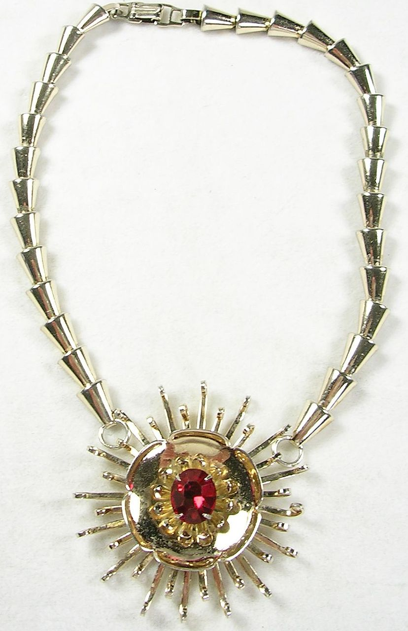 Vintage Sterling Silver Necklace Choker with a Gold Wash and a Ruby Red Crystal Stone