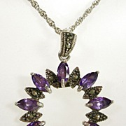 Vintage Sterling Silver Marcasite Pendant Necklace with Marquise Amethyst