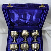 Vintage Silver Plated Set of Six Cordials or Brandy Snifters in Original Box