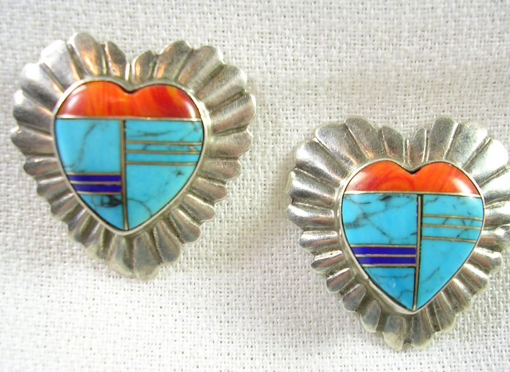 Handcrafted Turquoise Coral Lapis Heart Pierced Earrings in Sterling Silver