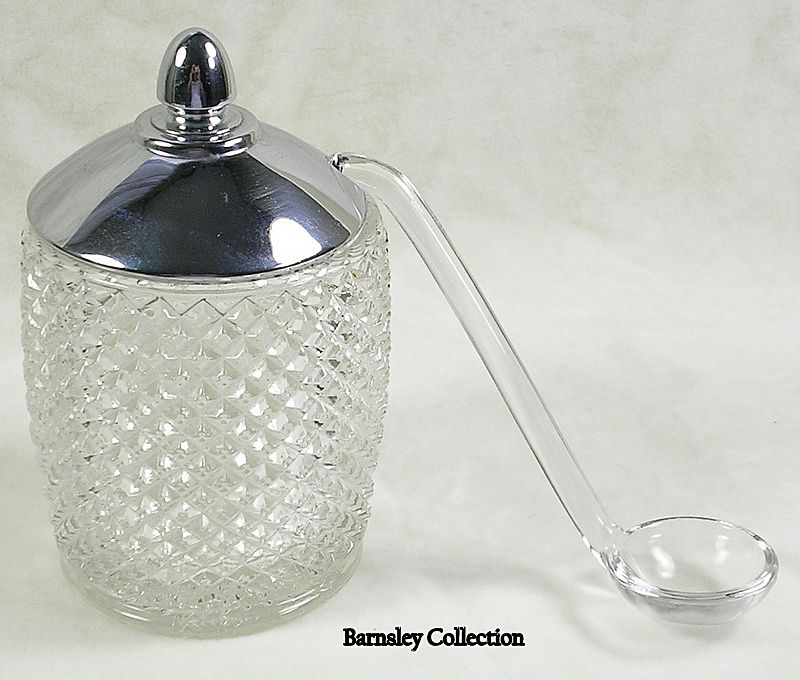 Vintage Silver Plated and Crystal Preserve Condiment Jar with Glass Ladle