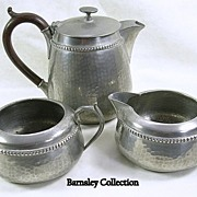 Hand Hammered Pewter Tea Set with Bakelite Handle – c.1930s