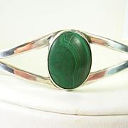 Vintage Malachite Cuff Bracelet in Sterling Silver