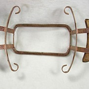 Vintage Bauer Hammered Copper Dish Plate Holder with Wooden Handles