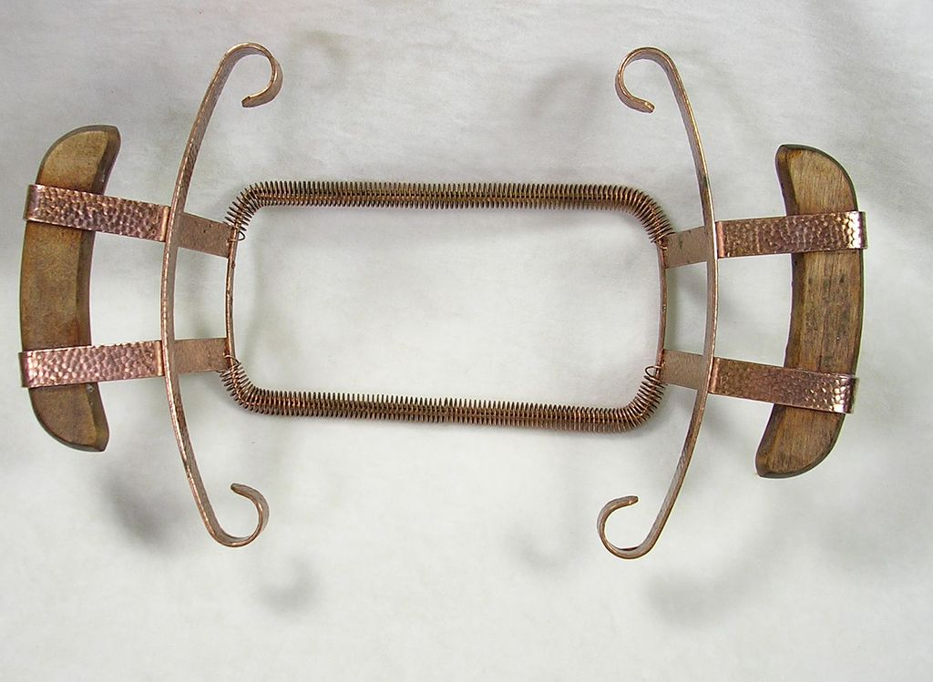Vintage Bauer Hammered Copper Dish Plate Holder with Wooden Handles