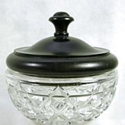 Vintage Crystal Glass Hobnail Bowl with Ebony Lid