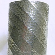 Art Deco Hand Hammered Pewter Vase Container