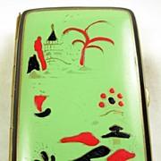 Vintage Japanese Inspired Scene Enamel Cigarette Case