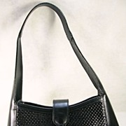 Made In Italy Bally Black Woven Hand Bag/Purse