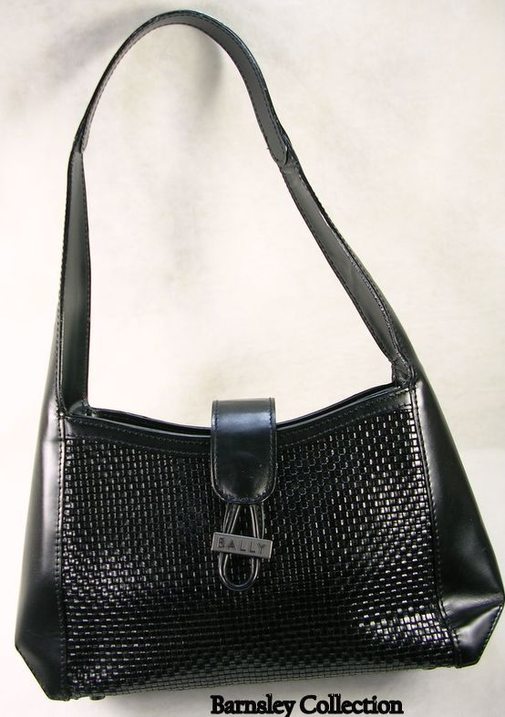 Made In Italy Bally Black Woven Hand Bag/Purse