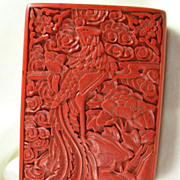 Chinese Phoenix Carved Cinnabar Lacquer Box