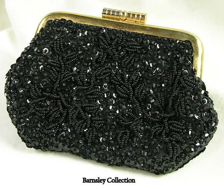 Vintage Hand Beaded Evening Bag Coin Purse in Black