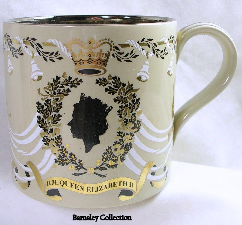 Wedgwood 25th Silver Wedding Mug for Queen Elizabeth II and Prince Philip