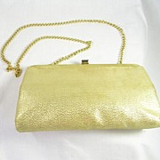 Vintage Ande' Designer Evening Shoulder Bag in Gold Lame' with Gold Tone Chain