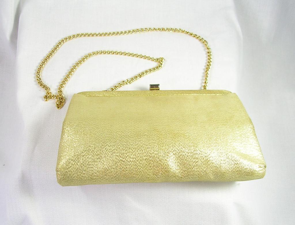Vintage Ande' Designer Evening Shoulder Bag in Gold Lame' with Gold Tone Chain