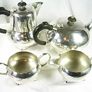 Art Deco Silver Plated Four Piece Tea Coffee Set