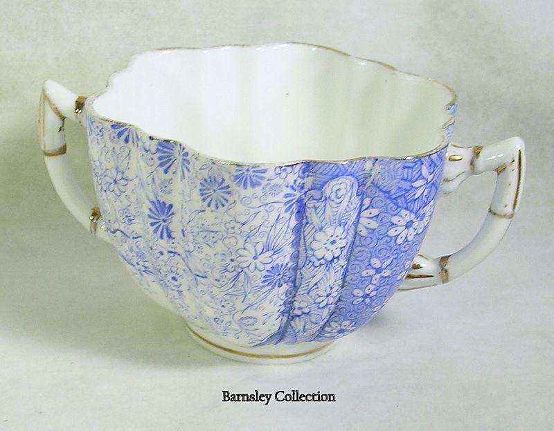 Vintage Blue Porcelain English Two Handle Tea Cup or Sugar Bowl