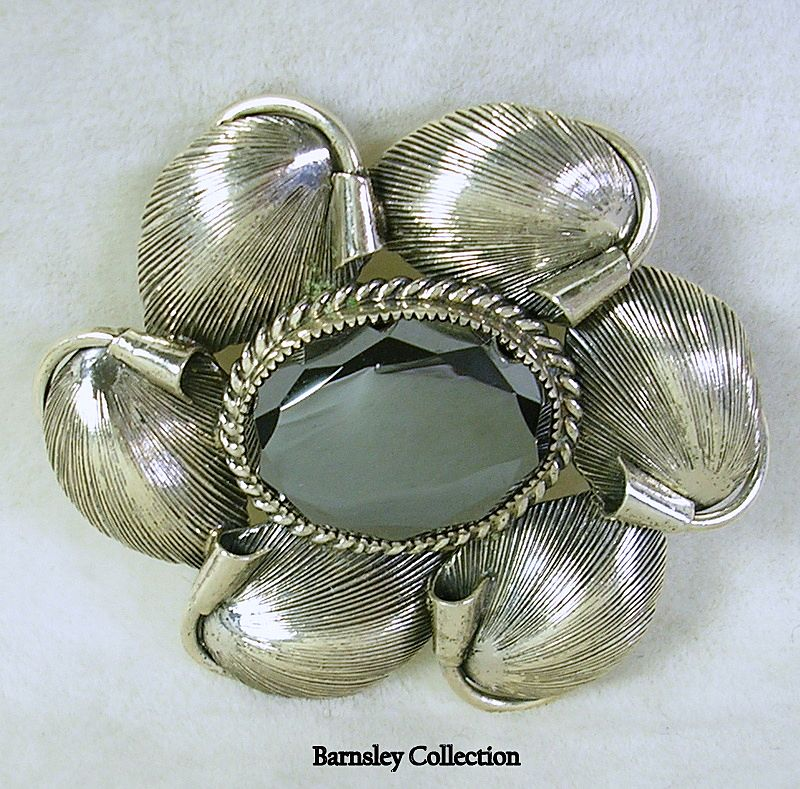Signed Danecraft Sterling Silver and Hematite Flower Brooch Pin – Beautiful!