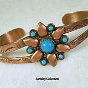 Vintage Copper and Turquoise Native American Cuff Bracelet