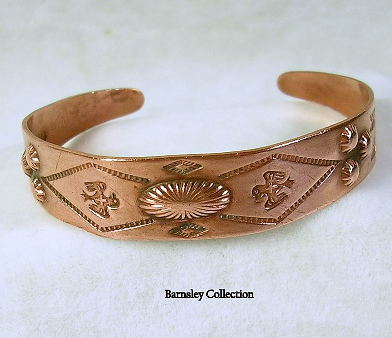Signed Copper Bell Vintage Native American Copper Cuff Bracelet