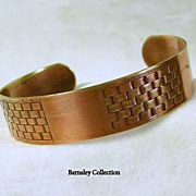 Vintage Patterned Copper Cuff Bracelet