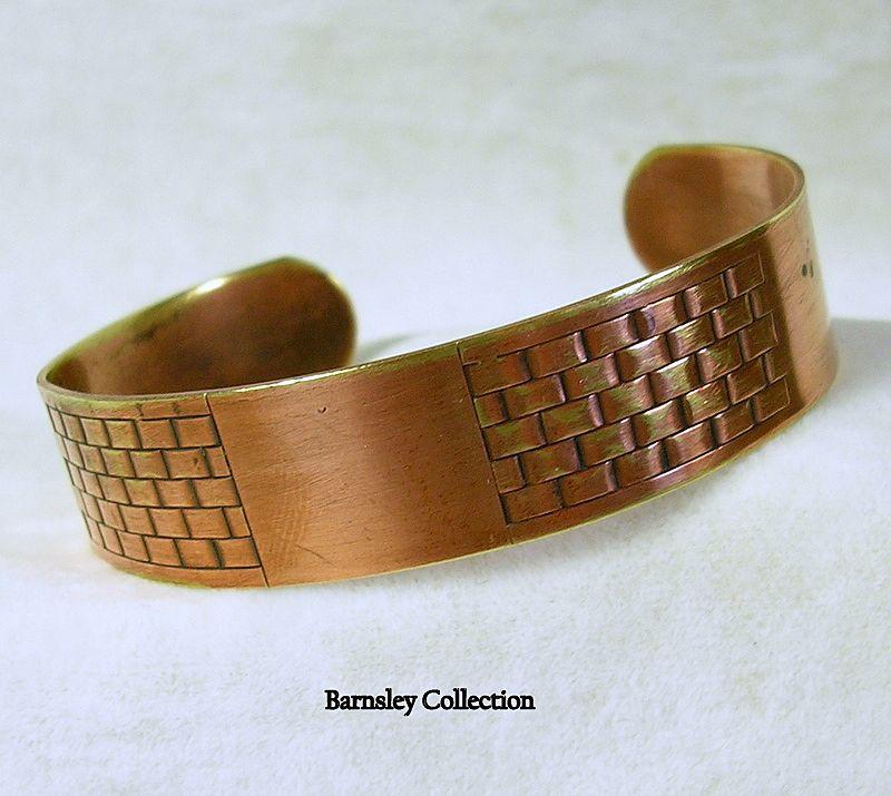 Vintage Patterned Copper Cuff Bracelet