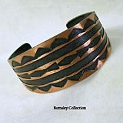 Vintage Copper and Contrasting Enamel Cuff Bracelet