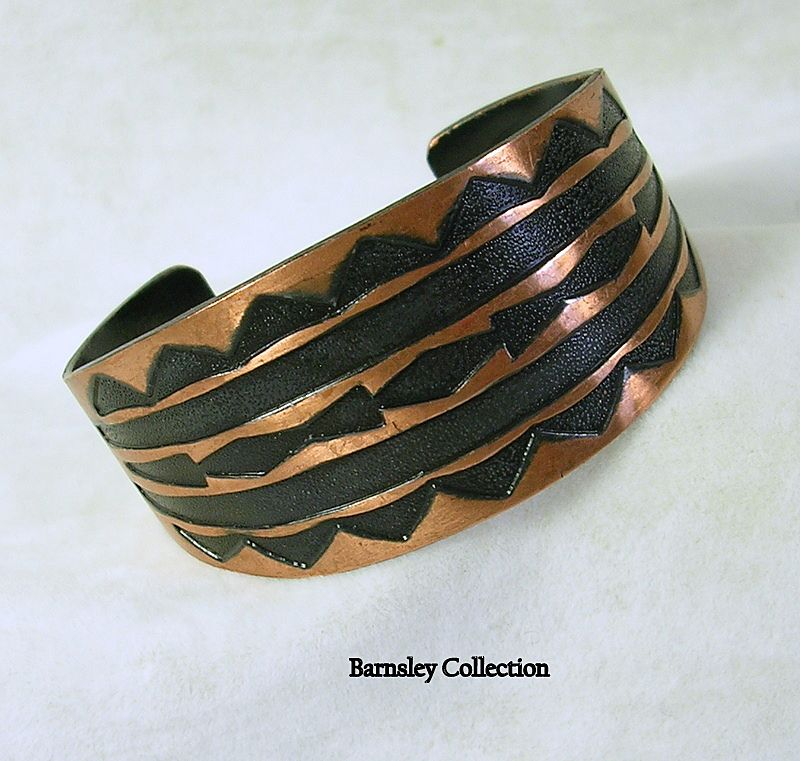 Vintage Copper and Contrasting Enamel Cuff Bracelet