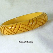 Vintage Butterscotch Bakelite Carved Bangle Bracelet