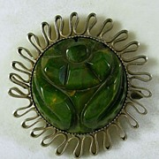 Vintage Silver and Carved Bakelite Brooch/Pin