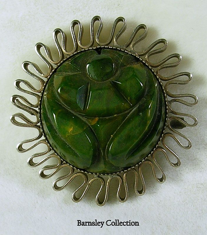 Vintage Silver and Carved Bakelite Brooch/Pin