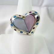 Vintage Mother of Pearl Heart Ring with Turquoise and Coral Inlay in Sterling Silver