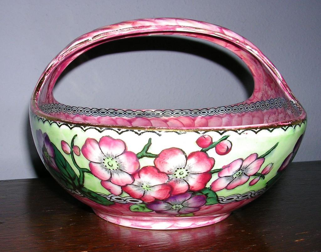 English Maling Pink Lusterware Basket c.1930
