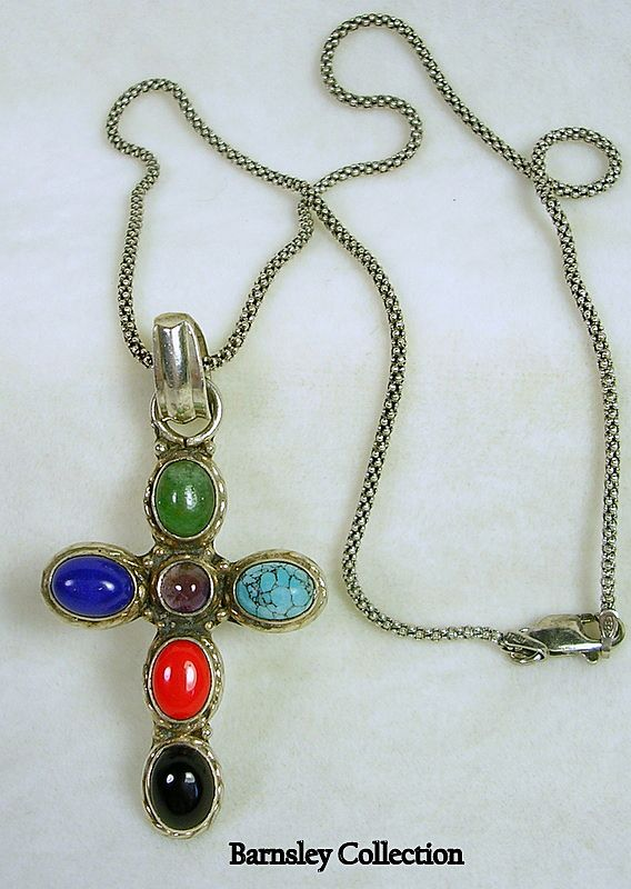 Artisan Crafted Sterling Silver, Jade, Turquoise, Lapis, and Amethyst Cabochon Cross with Chain