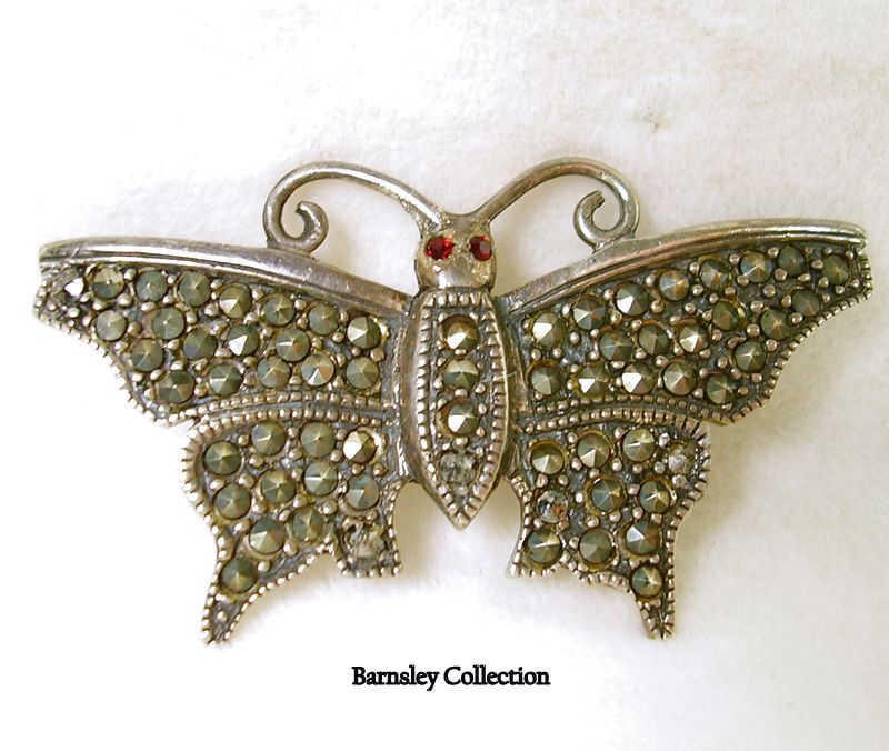 Vintage Sterling Silver Marcasite Butterfly Brooch with Garnet Eyes