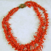 Vintage Branch Coral Double Strand Necklace Choker with Ornate Clasp