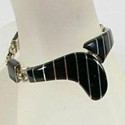 Mexican Bracelet Stamped .950 with Onyx Inlay – Stunning!