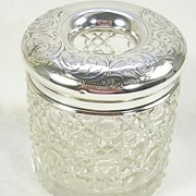 Vintage Cut Glass Hair Tidy with a Sterling Silver Lid