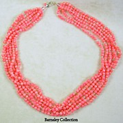 6 Strand Coral and Sterling Silver Torsade Necklace – Stunning!
