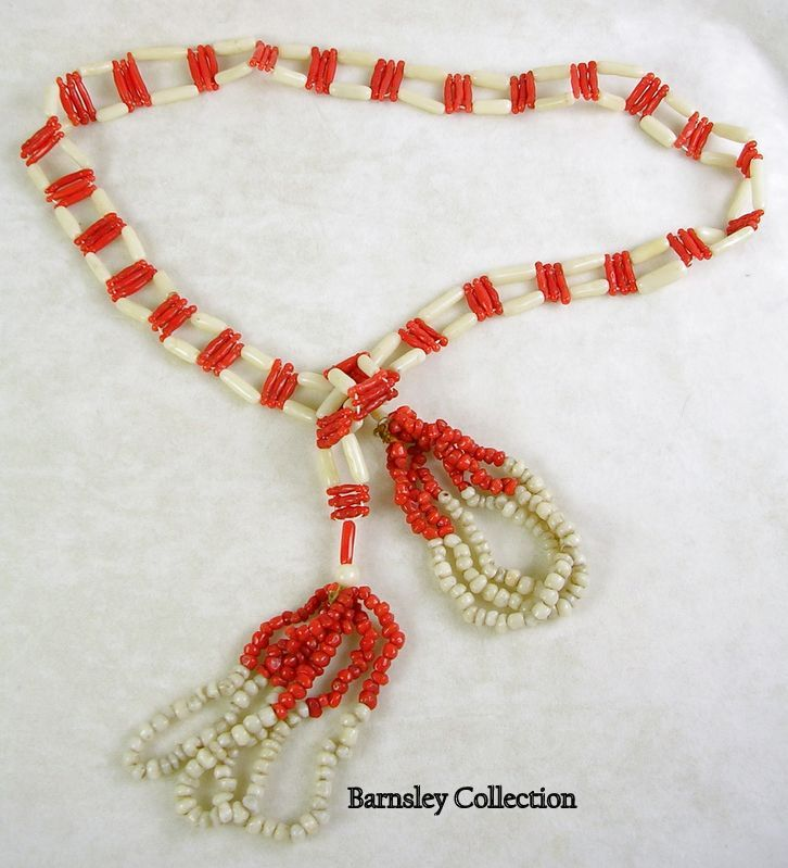 Vintage Coral and Bone Lariat Necklace with Tassels