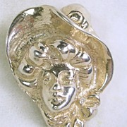 Vintage Pin Brooch of Victorian Lady in Sterling Silver