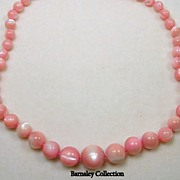 Vintage Polished Coral Beaded Necklace with 14KT Yellow Gold Clasp