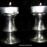 Vintage Collectible Set of Pewter Candleholders