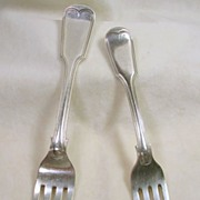 Victorian Fiddle Pattern Silver Plated Dinner and Salad Forks