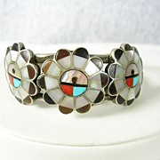 Vintage Zuni Cuff Bracelet with Inlaid Coral Turquoise Onyx in Sterling Silver c. 1960s
