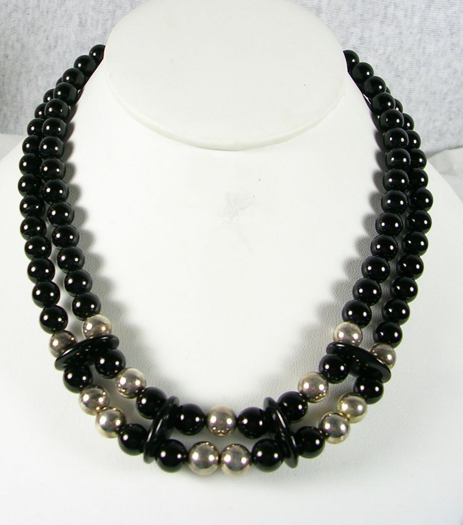Vintage Double Strand Onyx Necklace with Sterling Silver Beads – c. 1975
