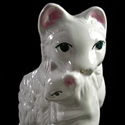 Vintage Collectible White Cat with Kitten Vase