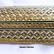 Hand Woven Vintage Straw Box in Geometric Pattern