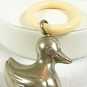 Vintage Silver plated Baby Duck Rattler and Teething Ring